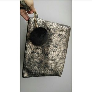 Handbags - Oversized Gold And Black Snake Skin Clutch